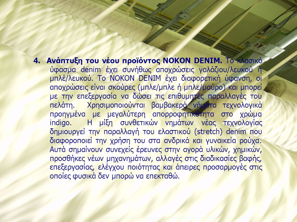 4. Ανάπτυξη του νέου προϊόντος NOKON DENIM