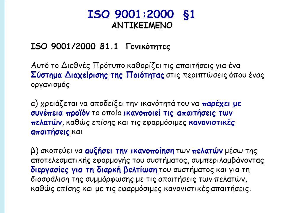 ΙSO 9001:2000 §1 ΑΝΤΙΚΕΙΜΕΝΟ.