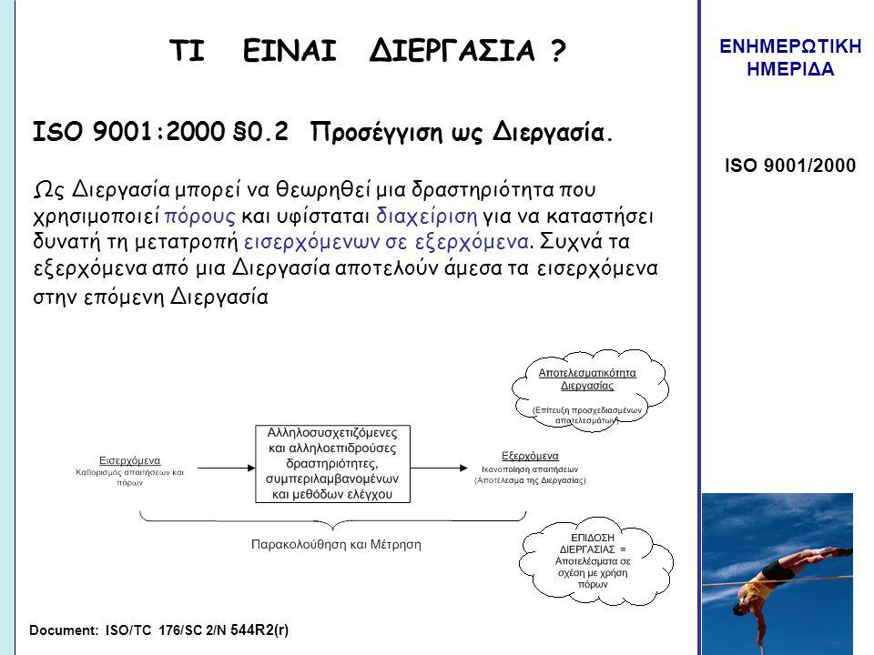 ΤΙ ΕΙΝΑΙ ΔΙΕΡΓΑΣΙΑ ISO 9001:2000 §0.2 Προσέγγιση ως Διεργασία.
