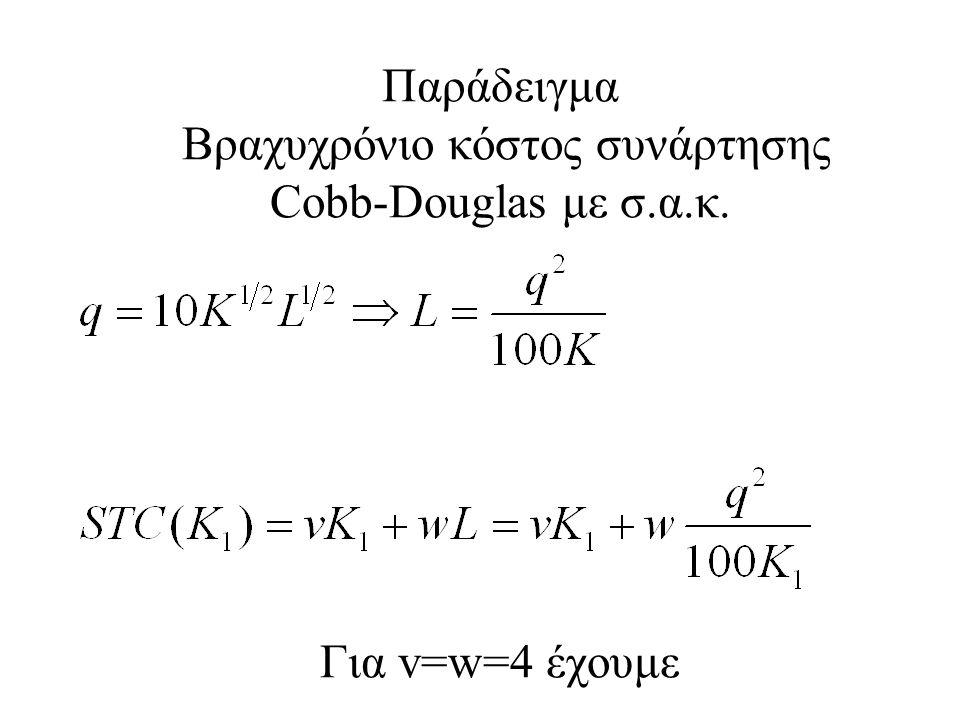 Παράδειγμα Βραχυχρόνιο κόστος συνάρτησης Cobb-Douglas με σ. α. κ