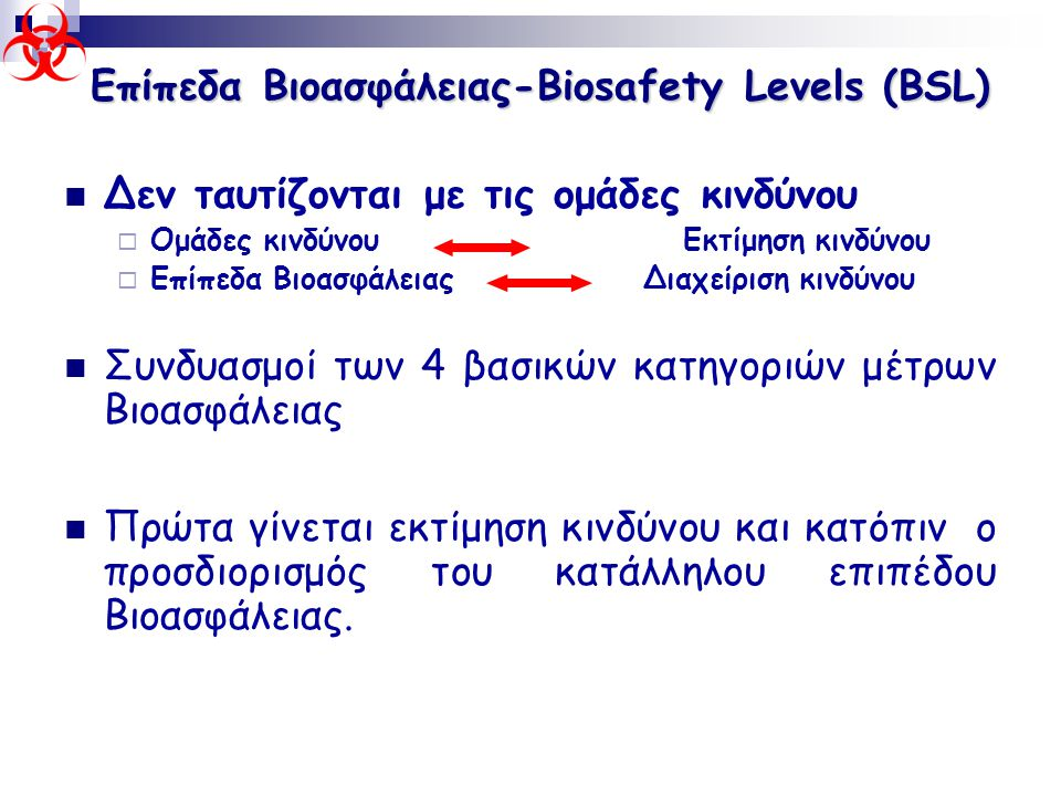Επίπεδα Βιοασφάλειας-Biosafety Levels (BSL)
