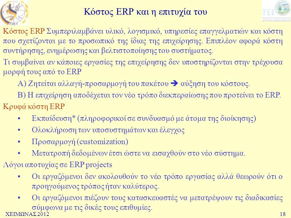 Κόστος ERP και η επιτυχία του