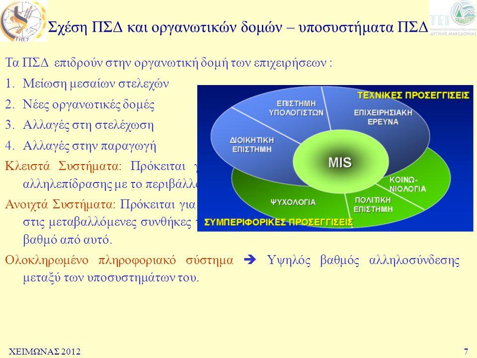 Σχέση ΠΣΔ και οργανωτικών δομών – υποσυστήματα ΠΣΔ