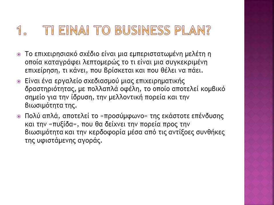 1. Τι εΙναι το Business Plan