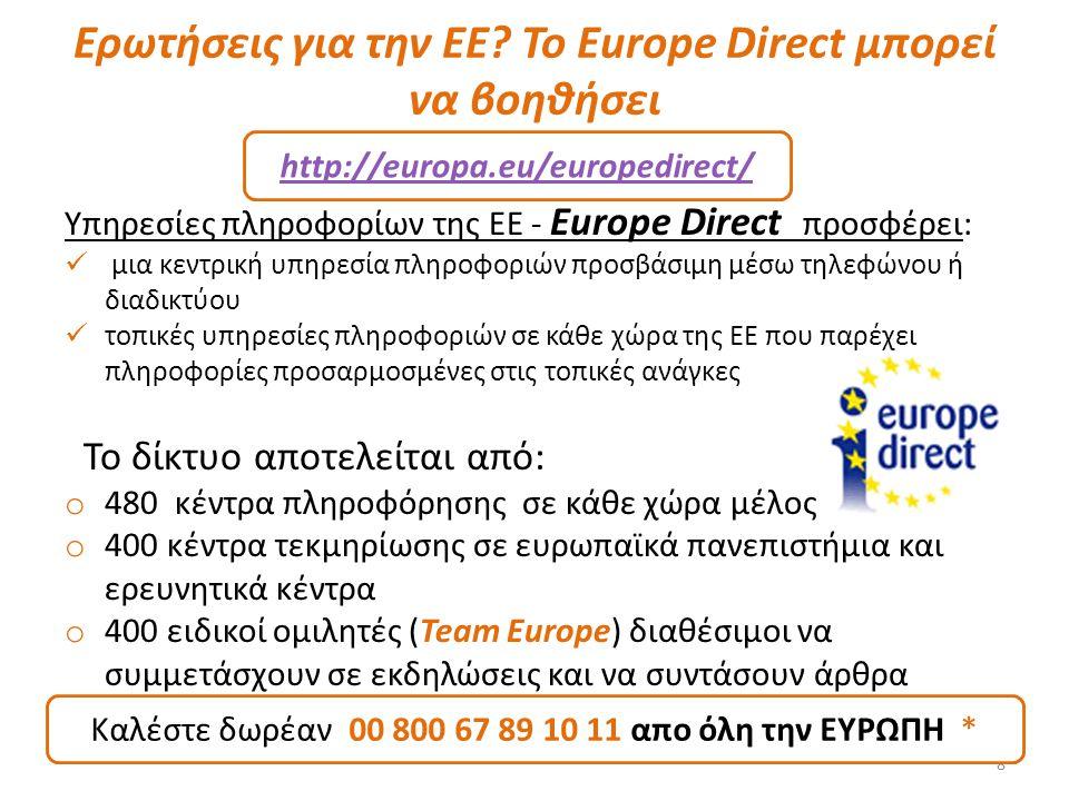 Ερωτήσεις για την EΕ Το Europe Direct μπορεί να βοηθήσει