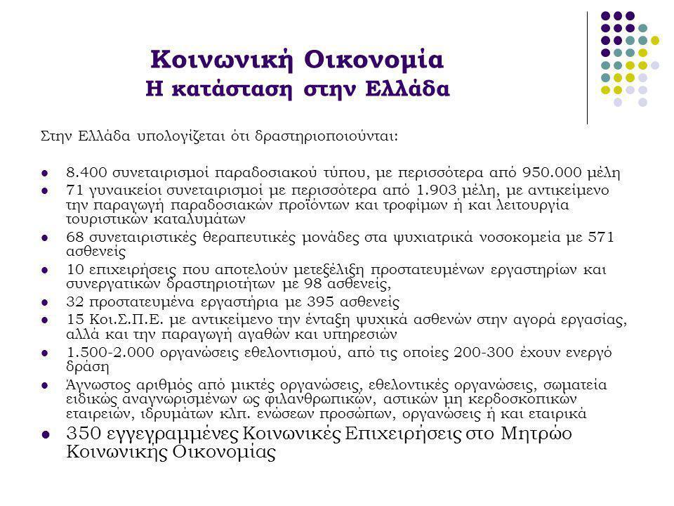 Κοινωνική Οικονομία Η κατάσταση στην Ελλάδα