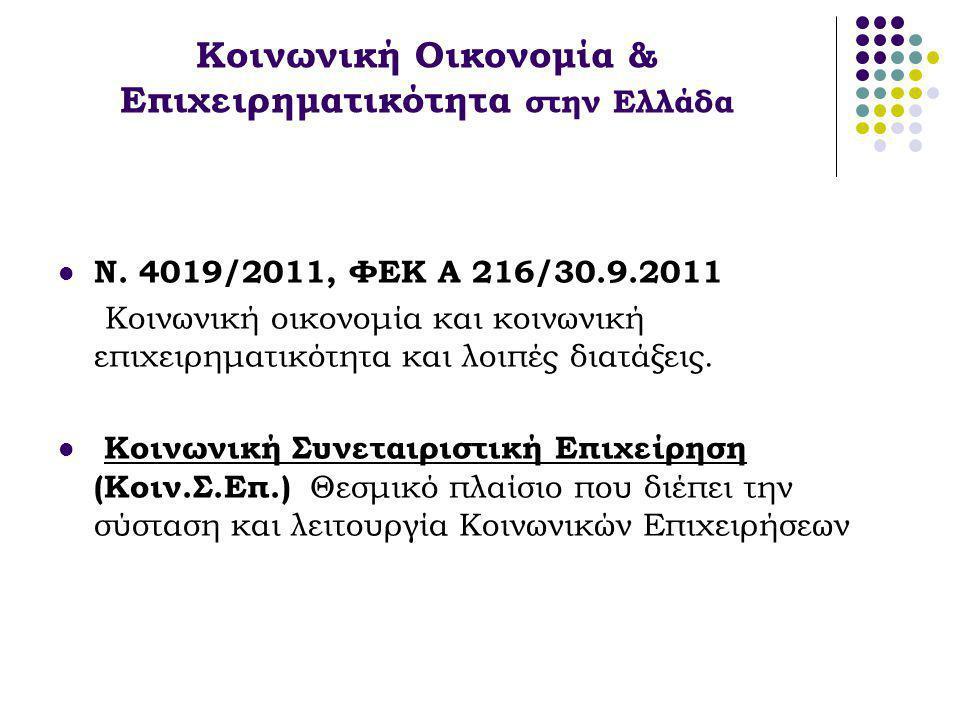 Κοινωνική Οικονομία & Επιχειρηματικότητα στην Ελλάδα