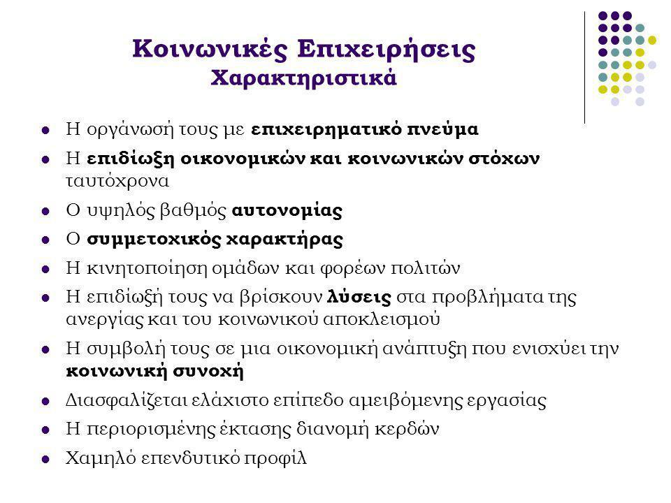 Κοινωνικές Επιχειρήσεις Χαρακτηριστικά