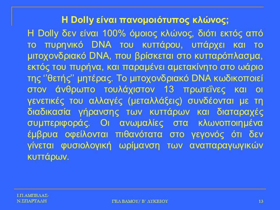 Η Dolly είναι πανομοιότυπος κλώνος;