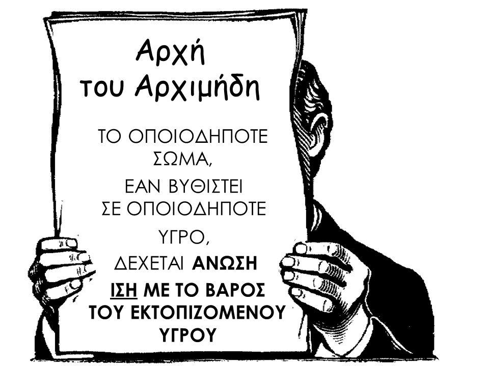 Αρχή του Αρχιμήδη ΤΟ ΟΠΟΙΟΔΗΠΟΤΕ ΣΩΜΑ, ΕΑΝ ΒΥΘΙΣΤΕΙ ΣΕ ΟΠΟΙΟΔΗΠΟΤΕ