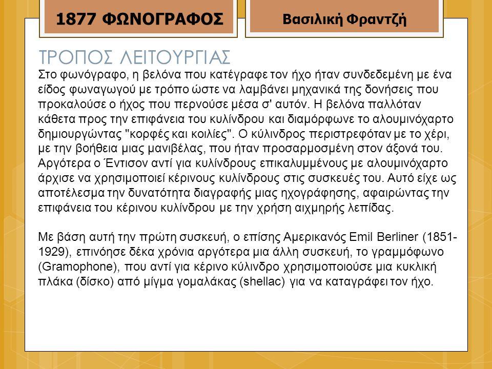 ΤΡΟΠΟΣ ΛΕΙΤΟΥΡΓΙΑΣ 1877 ΦΩΝΟΓΡΑΦΟΣ Βασιλική Φραντζή