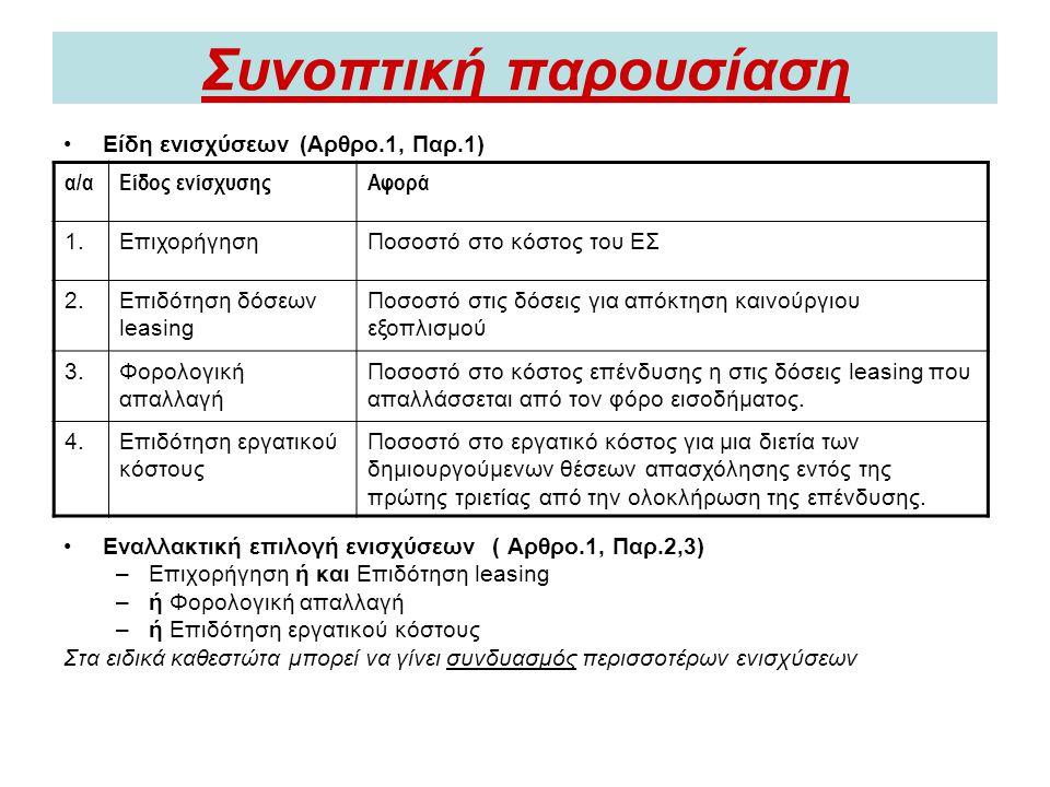 Συνοπτική παρουσίαση Είδη ενισχύσεων (Αρθρο.1, Παρ.1)