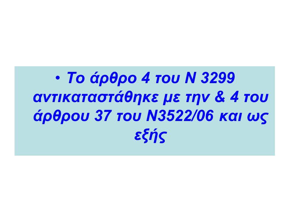 Το άρθρο 4 του Ν 3299 αντικαταστάθηκε με την & 4 του άρθρου 37 του Ν3522/06 και ως εξής