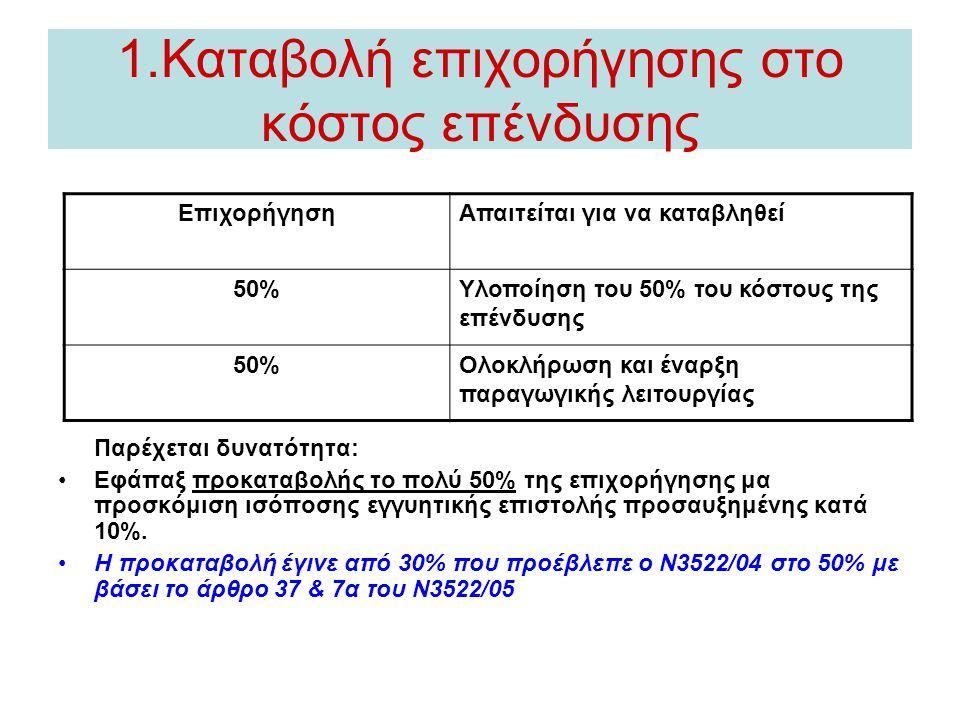 1.Καταβολή επιχορήγησης στο κόστος επένδυσης