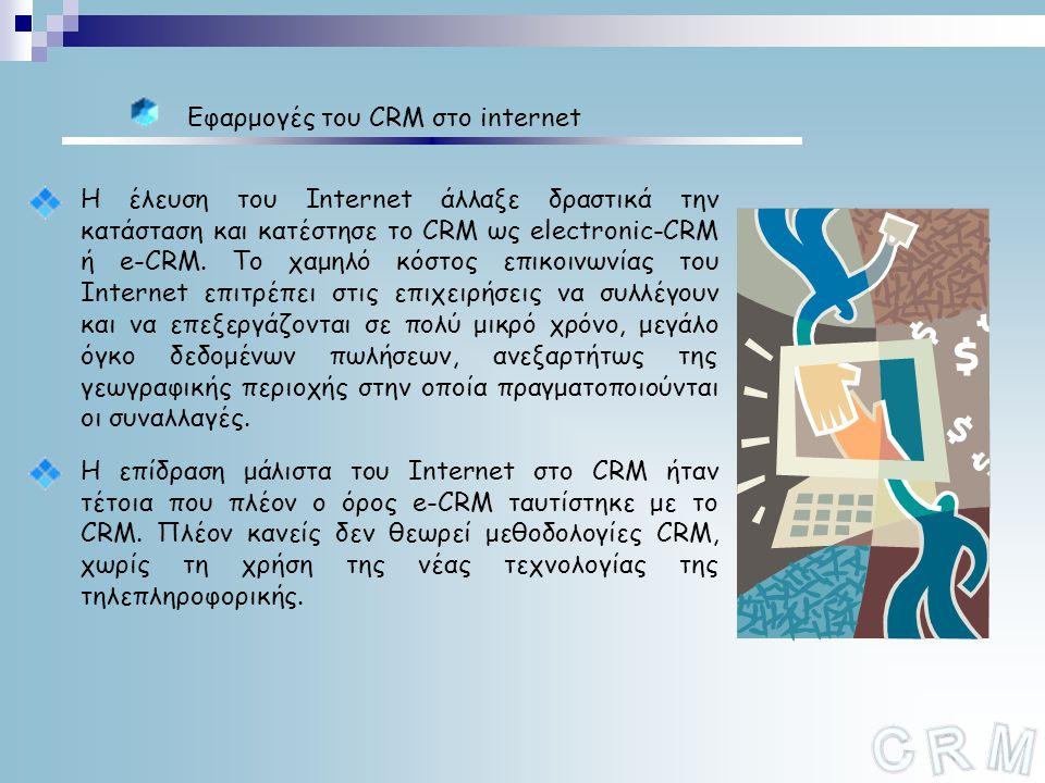 Εφαρμογές του CRM στο internet