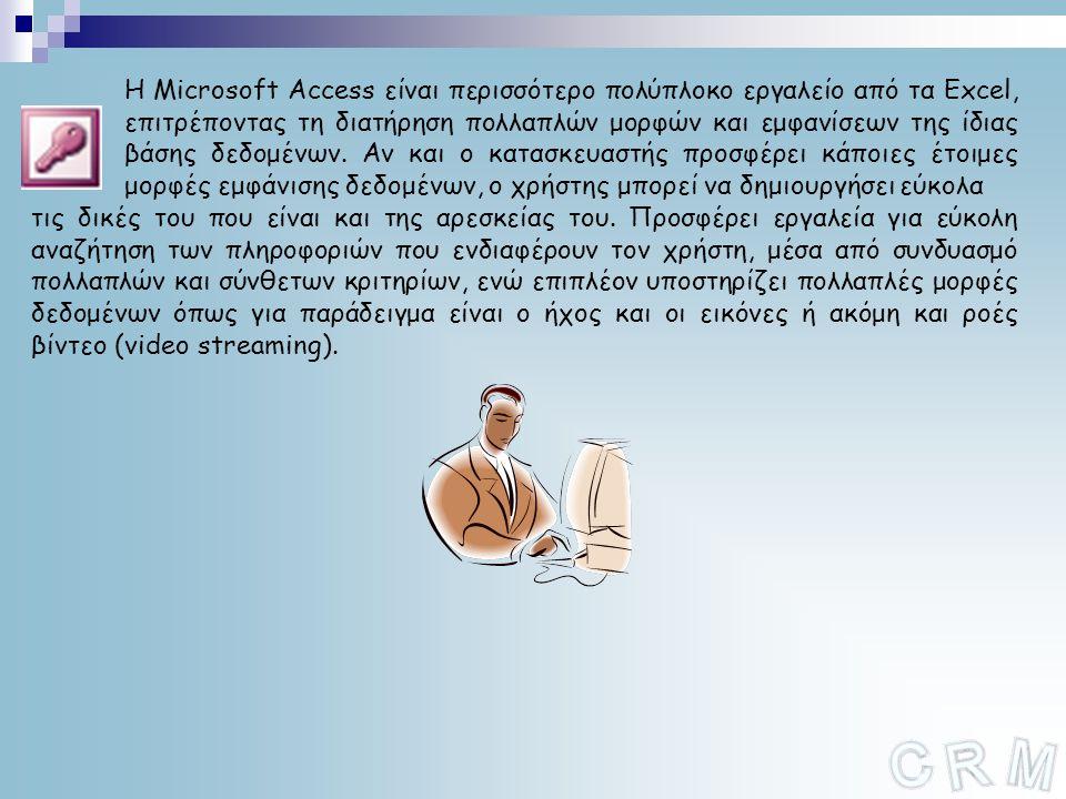Η Microsoft Access είναι περισσότερο πολύπλοκο εργαλείο από τα Excel, επιτρέποντας τη διατήρηση πολλαπλών μορφών και εμφανίσεων της ίδιας βάσης δεδομένων. Αν και ο κατασκευαστής προσφέρει κάποιες έτοιμες μορφές εμφάνισης δεδομένων, ο χρήστης μπορεί να δημιουργήσει εύκολα