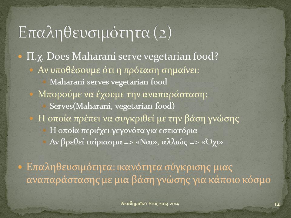 Επαληθευσιμότητα (2) Π.χ. Does Maharani serve vegetarian food