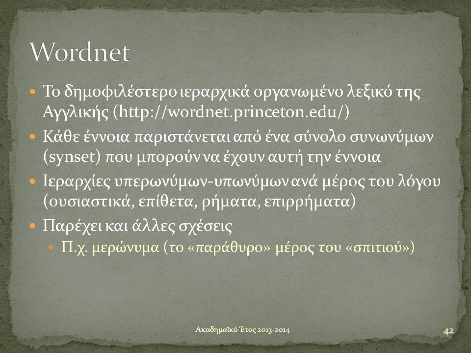 Wordnet Το δημοφιλέστερο ιεραρχικά οργανωμένο λεξικό της Αγγλικής (http://wordnet.princeton.edu/)