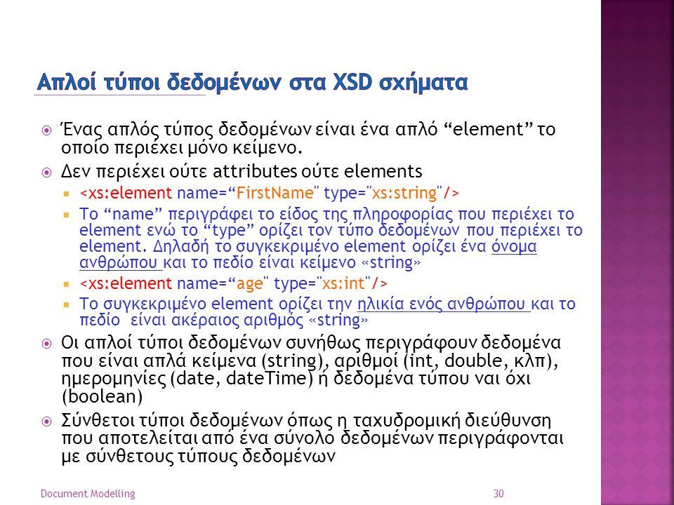 Απλοί τύποι δεδομένων στα XSD σχήματα