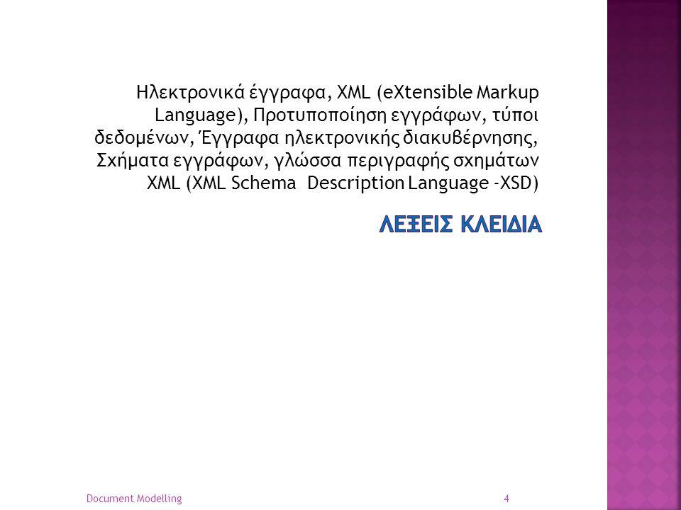 Ηλεκτρονικά έγγραφα, XML (eXtensible Markup Language), Προτυποποίηση εγγράφων, τύποι δεδομένων, Έγγραφα ηλεκτρονικής διακυβέρνησης, Σχήματα εγγράφων, γλώσσα περιγραφής σχημάτων XML (XML Schema Description Language -XSD)