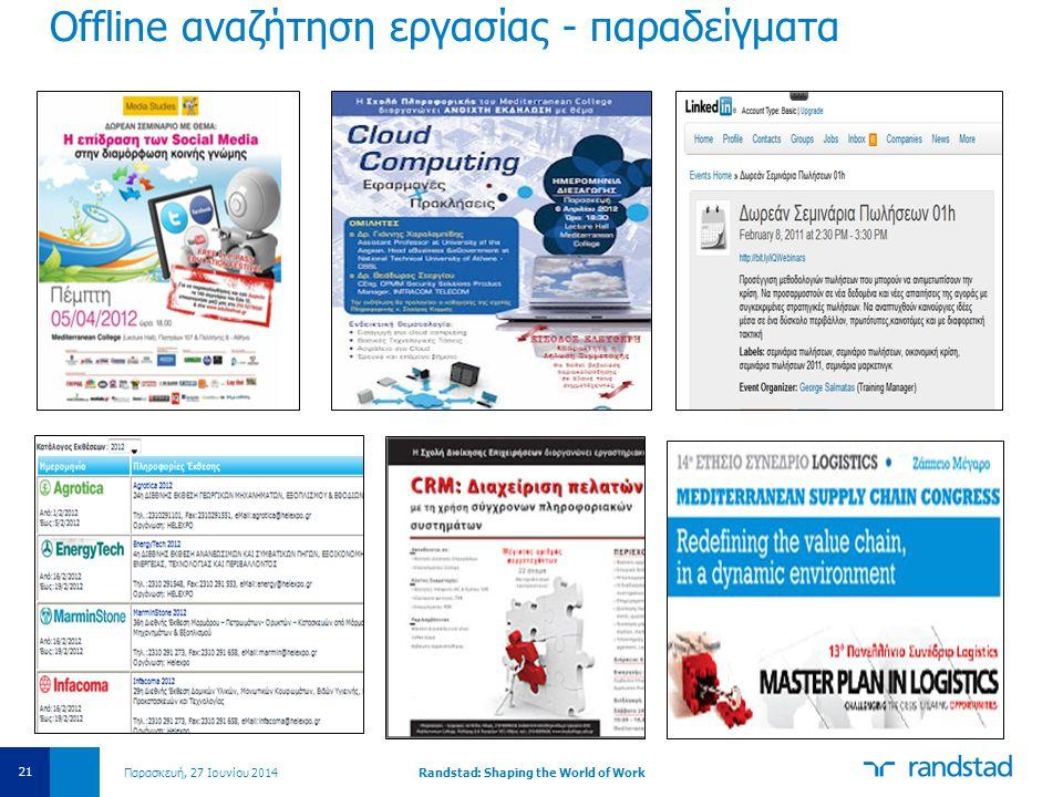 Offline αναζήτηση εργασίας - παραδείγματα