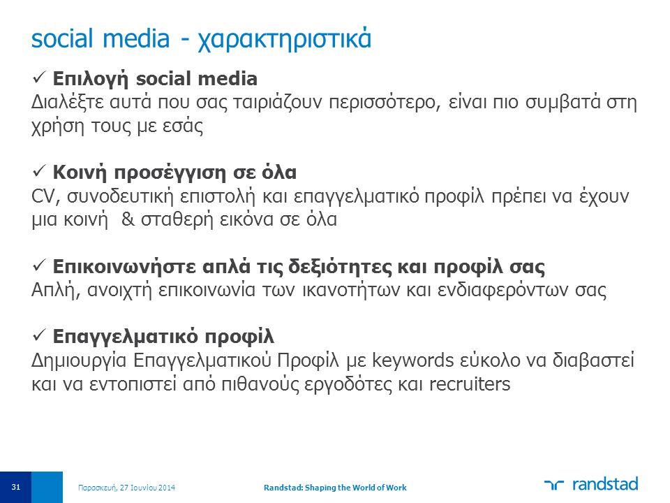 social media - χαρακτηριστικά