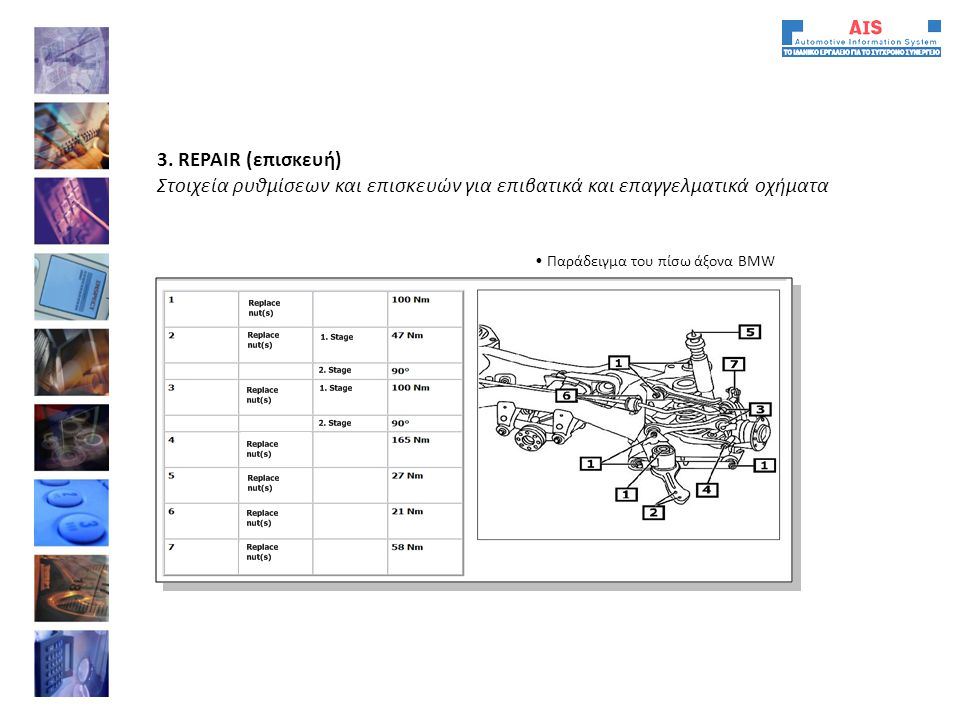 3. REPAIR (επισκευή) Στοιχεία ρυθμίσεων και επισκευών για επιβατικά και επαγγελματικά οχήματα.