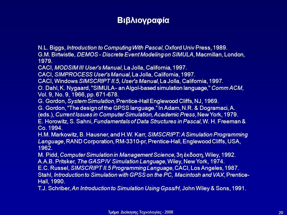 Βιβλιογραφία N.L. Biggs, Introduction to Computing With Pascal, Oxford Univ Press, 1989.