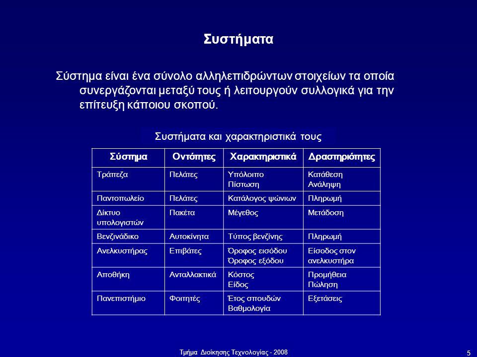 Συστήματα και χαρακτηριστικά τους