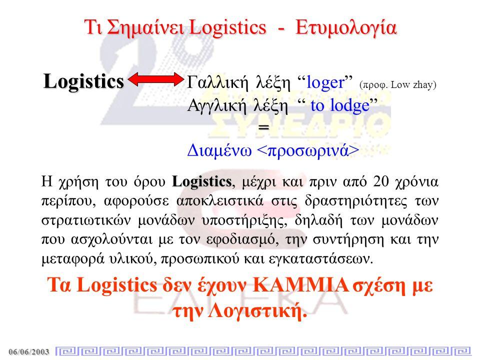 Τα Logistics δεν έχουν ΚΑΜΜΙΑ σχέση με την Λογιστική.