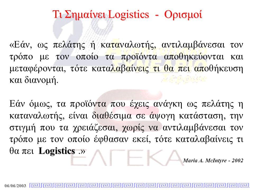 Τι Σημαίνει Logistics - Ορισμοί