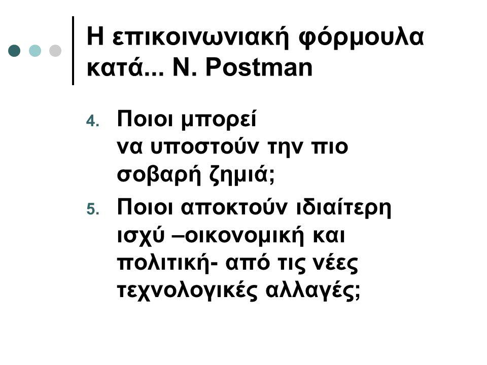 Η επικοινωνιακή φόρμουλα κατά... N. Postman