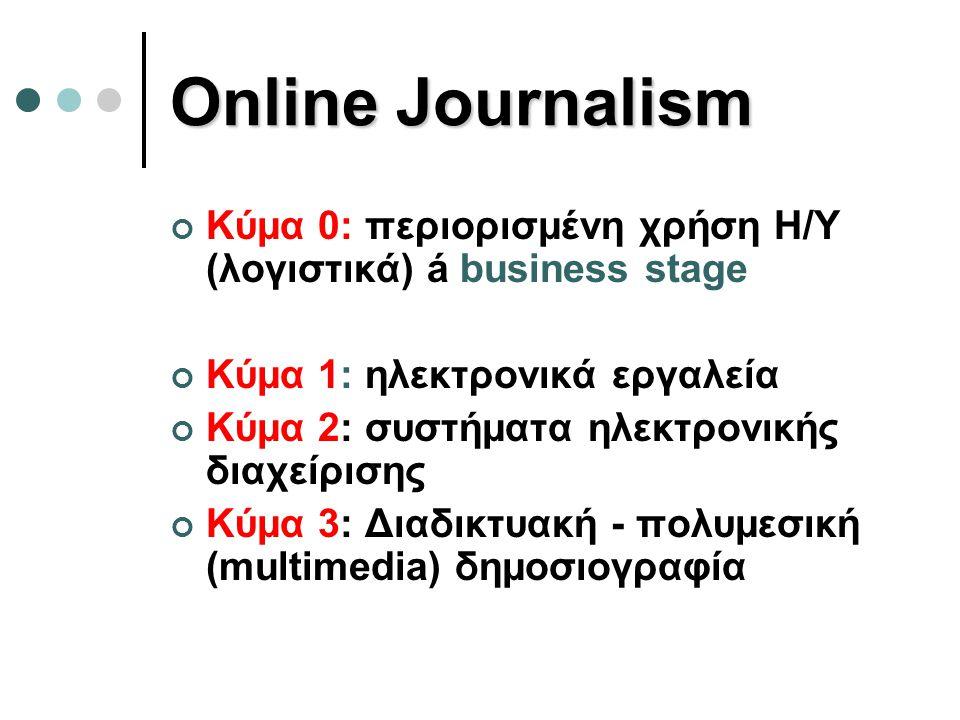 Online Journalism Κύμα 0: περιορισμένη χρήση Η/Υ (λογιστικά) á business stage. Κύμα 1: ηλεκτρονικά εργαλεία.