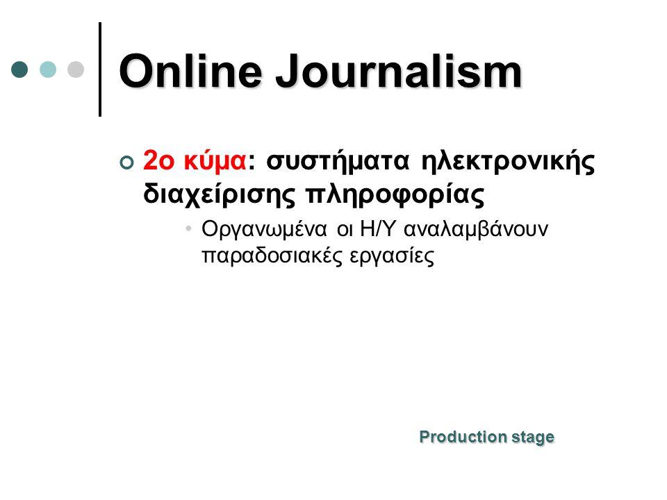 Online Journalism 2o κύμα: συστήματα ηλεκτρονικής διαχείρισης πληροφορίας. Οργανωμένα οι Η/Υ αναλαμβάνουν παραδοσιακές εργασίες.
