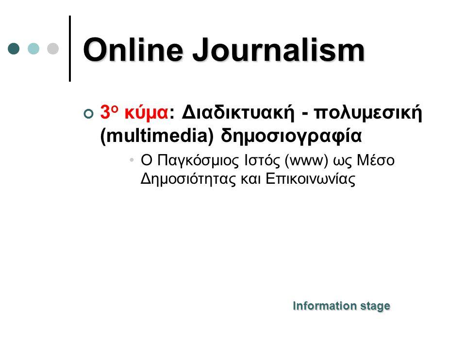 Online Journalism 3ο κύμα: Διαδικτυακή - πολυμεσική (multimedia) δημοσιογραφία. Ο Παγκόσμιος Ιστός (www) ως Μέσο Δημοσιότητας και Επικοινωνίας.