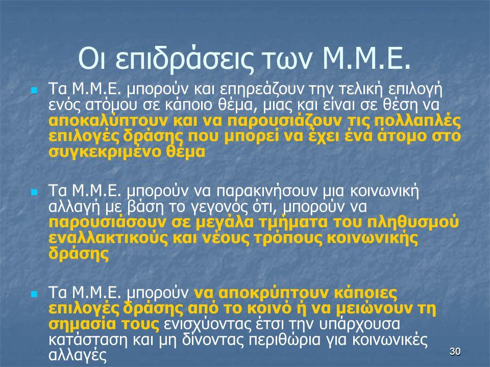 Οι επιδράσεις των Μ.Μ.Ε.