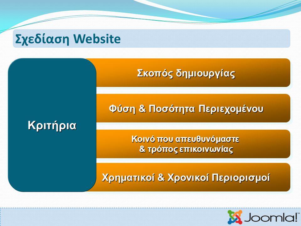 Σχεδίαση Website Κριτήρια Σκοπός δημιουργίας