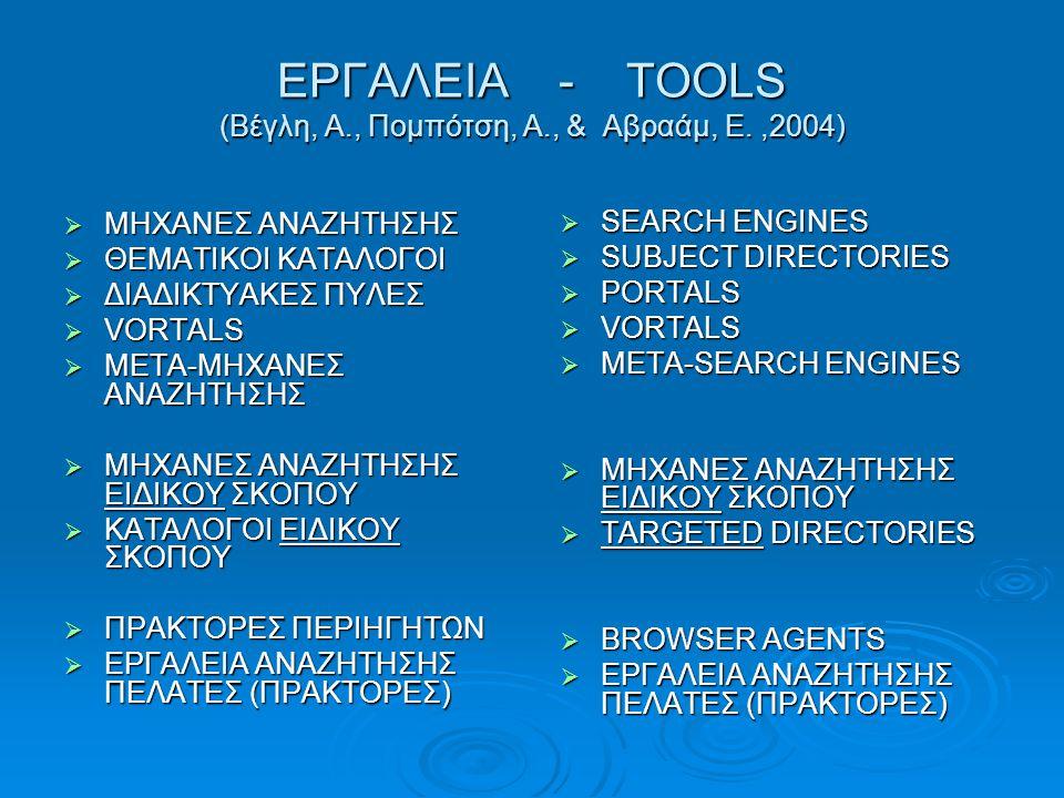 ΕΡΓΑΛΕΙΑ - TOOLS (Βέγλη, Α., Πομπότση, Α., & Αβραάμ, Ε. ,2004)
