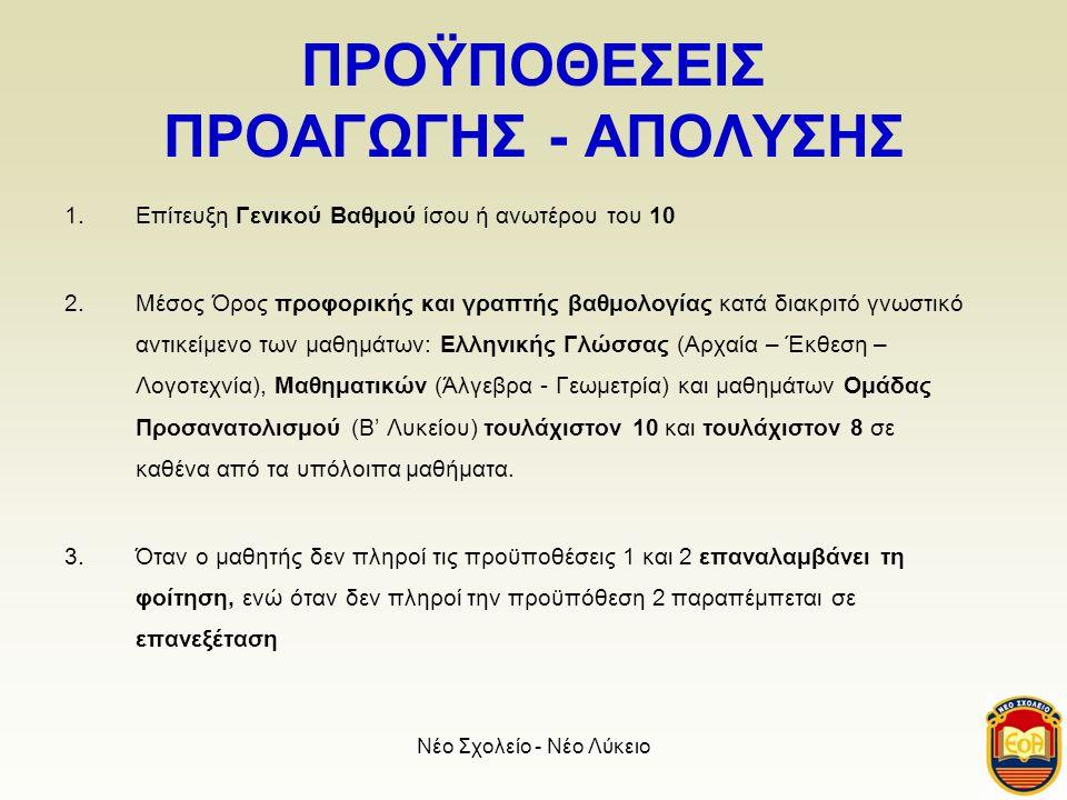 ΠΡΟΫΠΟΘΕΣΕΙΣ ΠΡΟΑΓΩΓΗΣ - ΑΠΟΛΥΣΗΣ