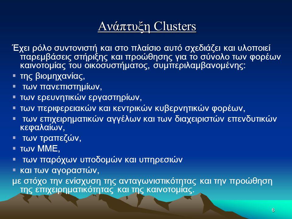 Ανάπτυξη Clusters