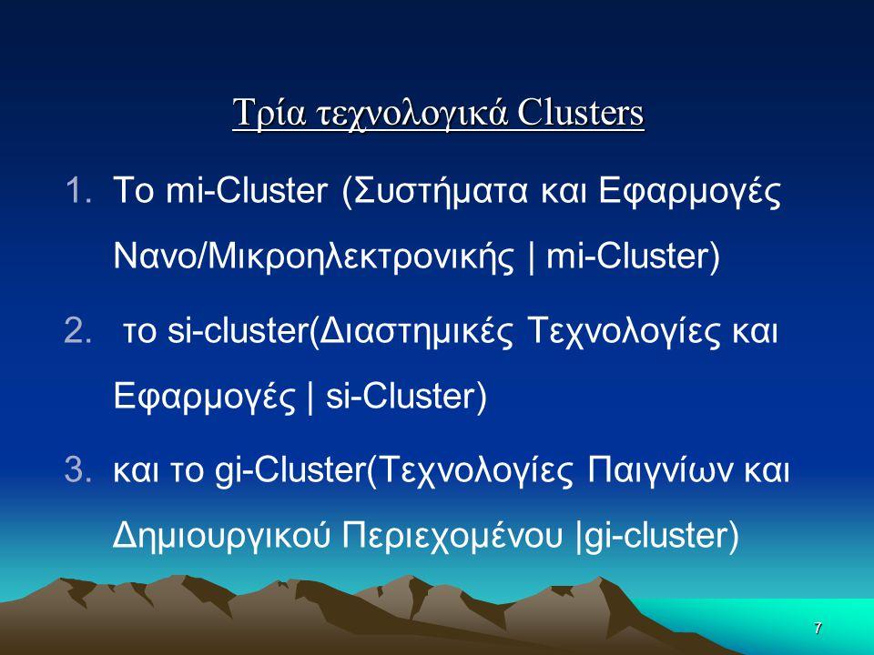 Τρία τεχνολογικά Clusters