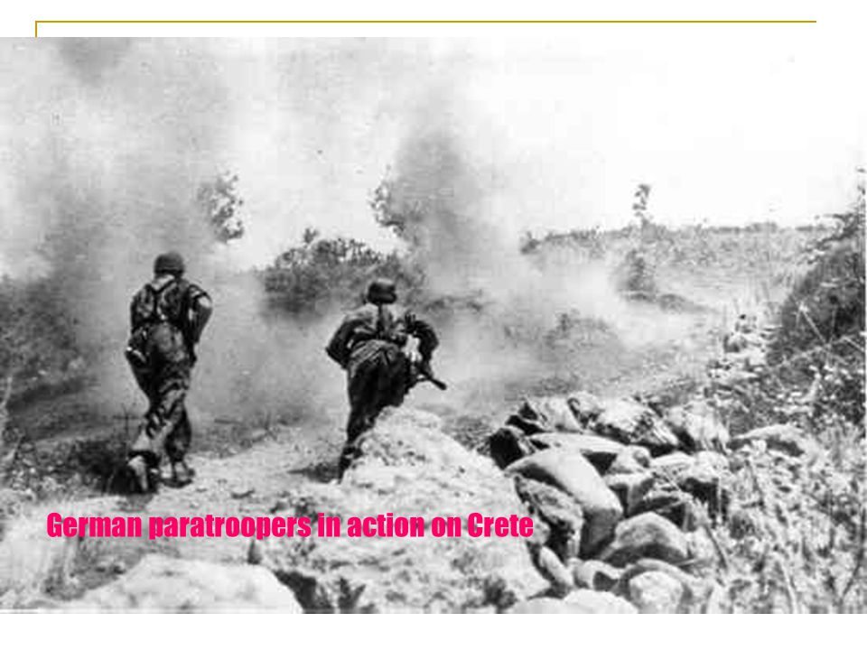 German paratroopers in action on Crete