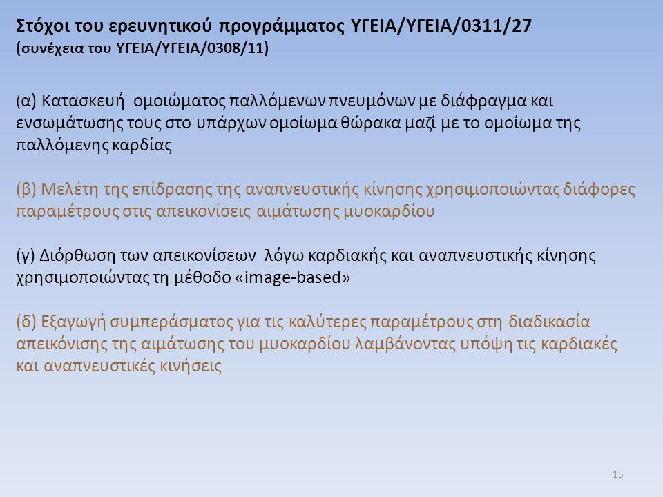 Στόχοι του ερευνητικού προγράμματος ΥΓΕΙΑ/ΥΓΕΙΑ/0311/27