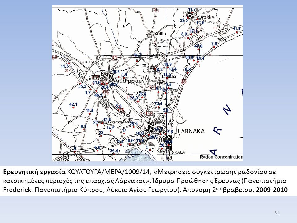 Ερευνητική εργασία ΚΟΥΛΤΟΥΡΑ/ΜΕΡΑ/1009/14, «Μετρήσεις συγκέντρωσης ραδονίου σε κατοικημένες περιοχές της επαρχίας Λάρνακας», Ίδρυμα Προώθησης Έρευνας (Πανεπιστήμιο Frederick, Πανεπιστήμιο Κύπρου, Λύκειο Αγίου Γεωργίου).