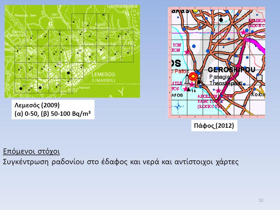 Συγκέντρωση ραδονίου στο έδαφος και νερά και αντίστοιχοι χάρτες