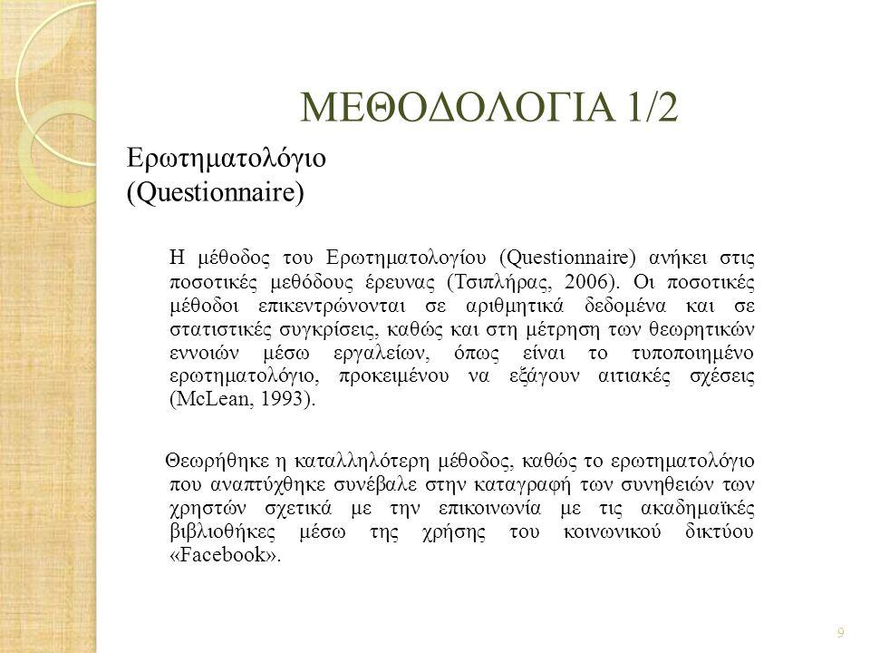 Μεθοδολογια 1/2 Ερωτηματολόγιο (Questionnaire)