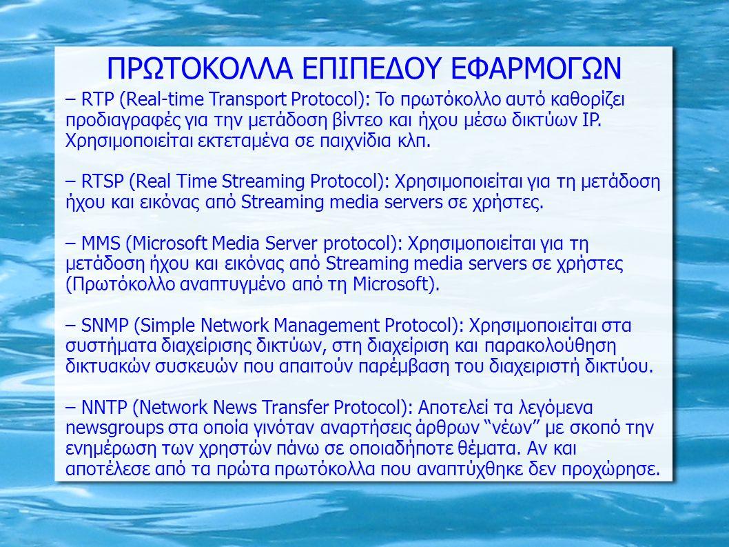 ΠΡΩΤΟΚΟΛΛΑ ΕΠΙΠΕΔΟΥ ΕΦΑΡΜΟΓΩΝ