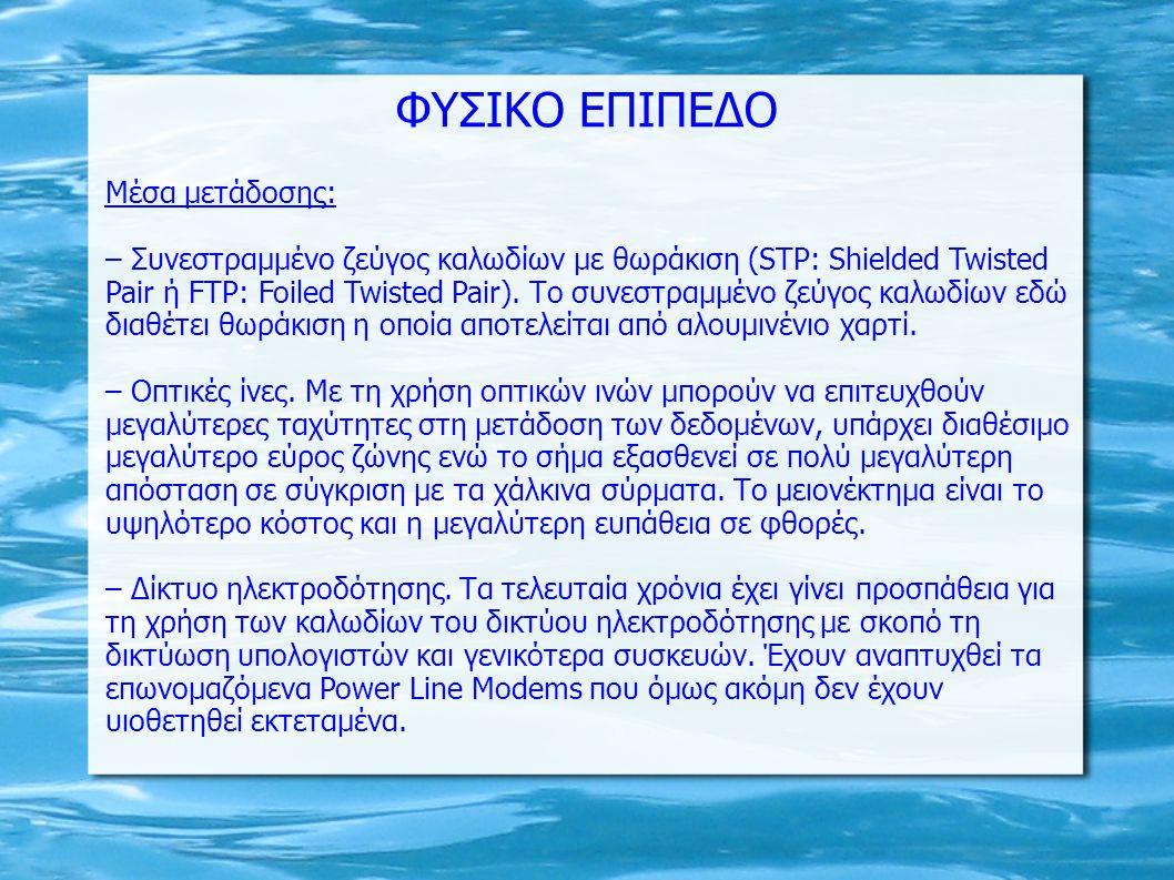 ΦΥΣΙΚΟ ΕΠΙΠΕΔΟ Μέσα μετάδοσης: