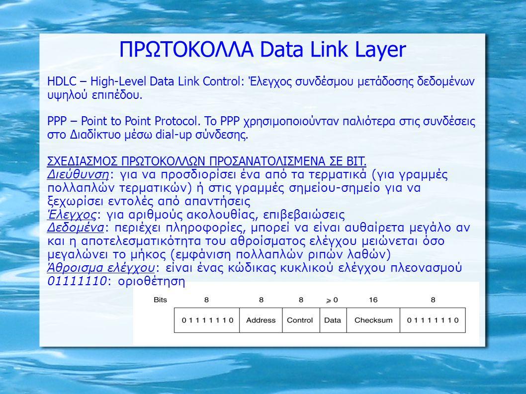 ΠΡΩΤΟΚΟΛΛΑ Data Link Layer
