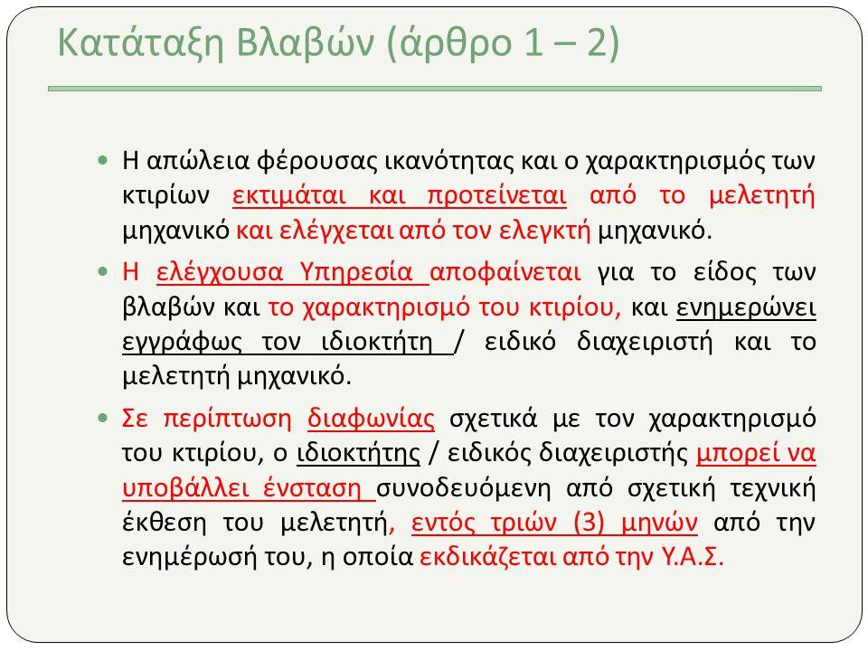 Κατάταξη Βλαβών (άρθρο 1 – 2)